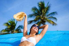 Happy woman on tropical caribbean vacation Royalty Free Stock Photo