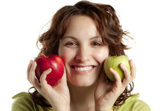 Happy Woman with Two Apples Royalty Free Stock Photography