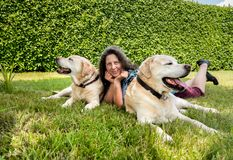 Happy woman with two labrador dogs. Happy woman with two labrador dogs on grass in the park Stock Photo