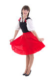 Happy woman in typical bavarian dress dirndl. Over white royalty free stock photo