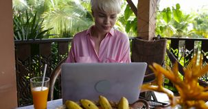 Happy woman typing on laptop during breakfast on summer terrace in tropical forest, young beautiful woman browsing stock footage