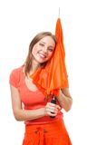 Happy woman with umbrella Stock Image