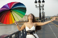 Happy woman with umbrella Stock Photography