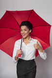 Happy woman with umbrella Royalty Free Stock Images