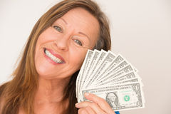 Happy woman with us dollar money Royalty Free Stock Photography