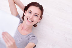 Happy woman use tablet pc Stock Photo