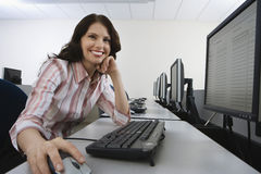 Happy Woman Using Computer Royalty Free Stock Images