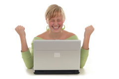 Free Happy Woman Using Laptop Royalty Free Stock Photography - 1375337