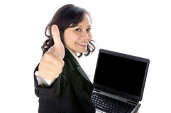 Happy Woman Using Laptop Stock Photography