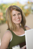 Happy Woman Using Laptop Royalty Free Stock Photo
