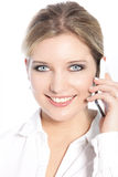 Happy woman using a mobile phone Royalty Free Stock Photo