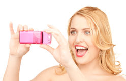 Happy woman using phone camera Royalty Free Stock Photography