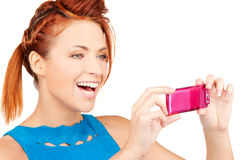 Happy woman using phone camera Royalty Free Stock Photo