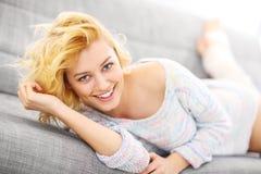 Happy woman using smart phone Stock Photo