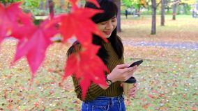 Happy woman using smartphone in park in autumn season. Standing under the tree, dolly shot. Happy woman using smartphone in park in autumn season. Standing under stock footage