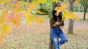 Happy Woman Using Smartphone in Park in Autumn Season. Standing under the Tree stock video footage