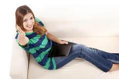 Happy woman using a tablet Stock Photos