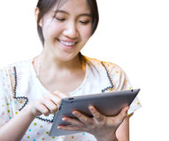 Happy woman using tablet pc Royalty Free Stock Images