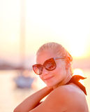 Happy woman in vacation Stock Photos