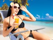 Happy woman on vacation enjoying at beach Royalty Free Stock Photography