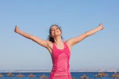 Happy woman on vacation in mallorca Stock Photo