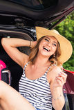 Happy woman on vacation. Summer holiday and car travel concept.  Stock Image