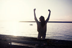 Happy woman on vacation. royalty free stock images
