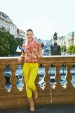 Happy woman on Vaclavske namesti in Prague with Czech flag Stock Photography