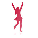 Happy woman vector silhouette. Vectored illustration as silhouette of happy girl exulting by rising her arms to the sky Stock Image