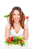 Happy woman with vegetables Royalty Free Stock Photos
