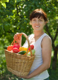 Happy  woman with vegetables Stock Photo