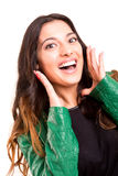 Happy woman. Very happy woman screaming of joy, isolated over a white background Royalty Free Stock Photography