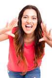 Happy woman. Very happy woman screaming of joy, isolated over a white background Stock Photos
