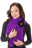 Happy woman in violet scarf Royalty Free Stock Image