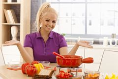 Happy woman waiting for dining guests Royalty Free Stock Photography