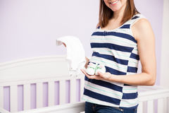Happy woman waiting for her baby Royalty Free Stock Images