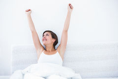 Happy woman waking up Royalty Free Stock Images