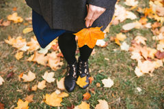 Happy woman walking in autumn city park. Rainy weather and yellow trees around Stock Photo