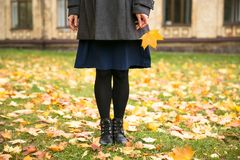 Happy woman walking in autumn city park. Rainy weather and yellow trees around.  Stock Photography