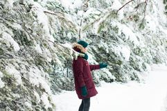 Happy woman walking through a snowy forest stock image