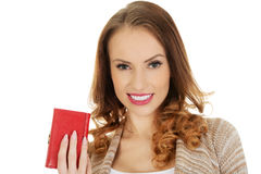 Happy woman with wallet. Stock Image