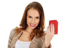 Happy woman with wallet. Royalty Free Stock Photo