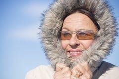 Happy Woman warm winter jacket Stock Photo