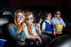 Happy Woman Watching 3D Movie With Family Stock Photos