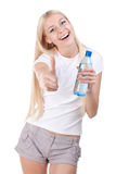 Happy woman with a water bottle Stock Photos