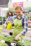 Happy woman with watering can in greenhouse Royalty Free Stock Photography