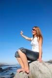 Happy woman waving hand Royalty Free Stock Photography