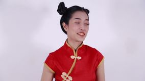 Woman wear red cheongsam in concept of happy chinese new year stock video footage