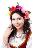 Happy woman wear wreath of flowers Royalty Free Stock Photo