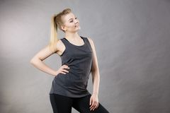 Happy woman wearing black tank top Royalty Free Stock Images